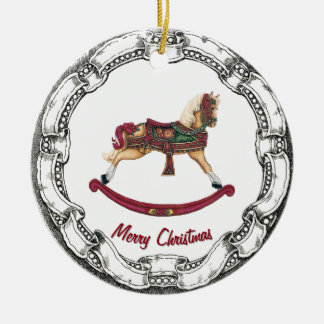 Vintage Look Rocking Horse Ceramic Ornament