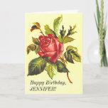 [ Thumbnail: Vintage Look Rose Flower, Happy Birthday Card ]