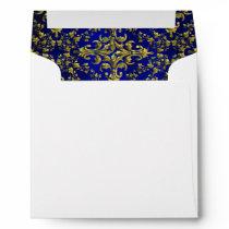 Vintage Look Royal Blue & Gold Damask #2 Envelope