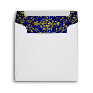 Vintage Look Royal Blue & Gold Damask #2 Envelope