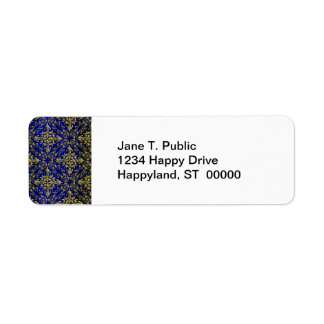 Vintage Look Royal Blue & Gold Damask #2 Label
