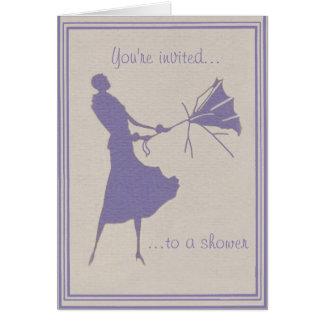 Vintage Look Shower Invitation / Note Card