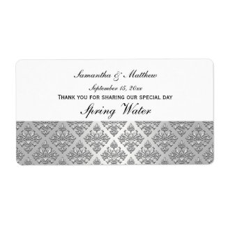 Vintage Look Silver & White Damask #3 Water Label