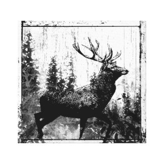 Vintage look Stag in Black and White, Deer Animal Gallery Wrapped Canvas