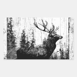 Vintage look Stag in Black and White, Deer Animal Rectangular Sticker