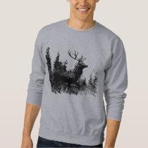 Vintage look Stag in Black and White, Deer Animal Sweatshirt