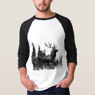Vintage look Stag in Black and White, Deer Animal T-Shirt