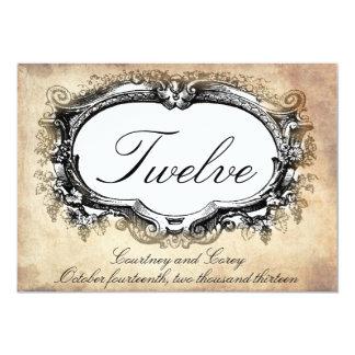 Vintage look table number cards weddings, parties