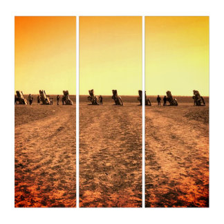 Vintage Look Triptych Art of Cadillac Ranch