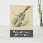 [ Thumbnail: Vintage Look Violin, Happy Birthday Greeting Card ]