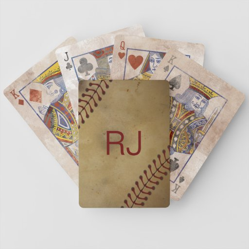 Vintage Looking Baseball with Custom Monogra Playing Cards