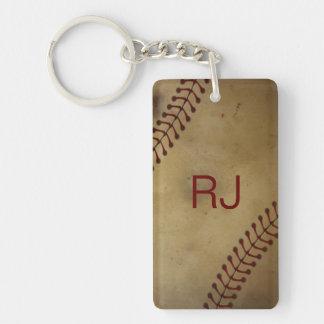 Vintage Looking Baseball with Custom Monogra Single-Sided Rectangular Acrylic Keychain
