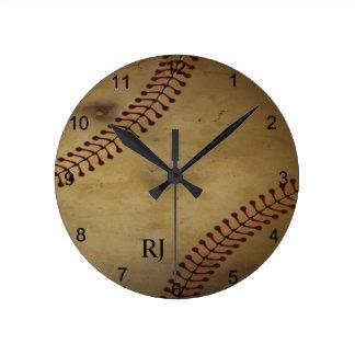 Vintage Looking Baseball with Custom Monogram Wall Clock