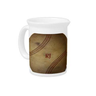 Vintage Looking Baseball with Custom Monogram Drink Pitchers