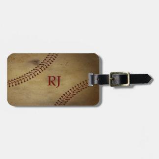 Vintage Looking Baseball with Custom Monogram Travel Bag Tags