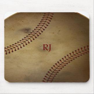 Vintage Looking Baseball with Custom Monogram Mouse Pad