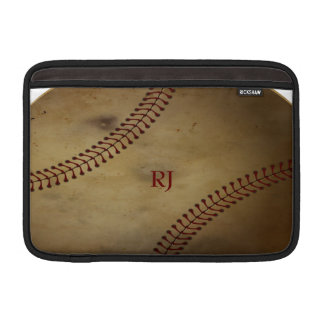 Vintage Looking Baseball with Custom Monogram Sleeve For MacBook Air