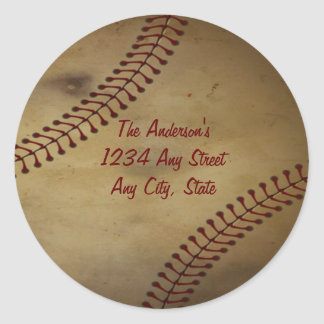 Vintage Looking Baseball with Custom Monogram Classic Round Sticker