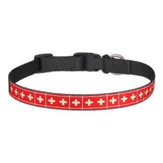 VIntage-looking Swiss flag dog collar