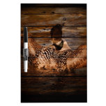 Vintage Loon On Rustic Barn Wood Dry-Erase Whiteboards