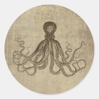 Vintage Lord Bodner Octopus Triptych Classic Round Sticker