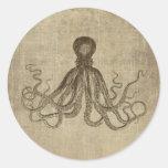 Vintage Lord Bodner Octopus Triptych Round Sticker