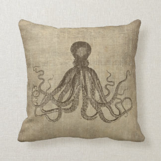 Vintage Lord Bodner Octopus Triptych Throw Pillow