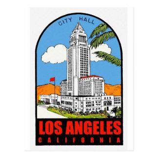 Vintage Los Angeles City Hall travel ad Postcard