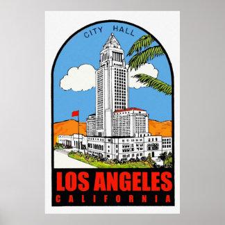 Vintage Los Angeles City Hall travel ad Posters