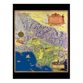 Vintage Los Angeles Pictorial map Postcard