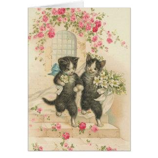 Vintage - los gatos del boda tarjeta de felicitación