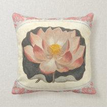 Vintage Lotus Damask Elegant Antique Botanical Throw Pillow