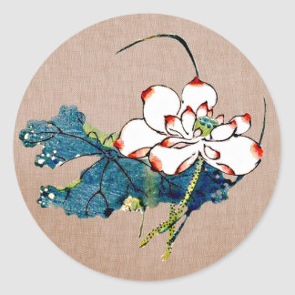 Vintage Lotus Flower Classic Round Sticker
