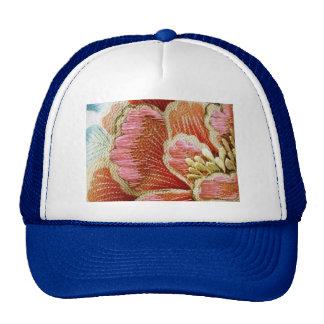 Vintage Lotus Flower Embroidered Texture Trucker Hat
