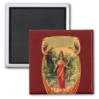 vintage Lotus Flower Hindu Goddess Lakshmi 2 Inch Square Magnet