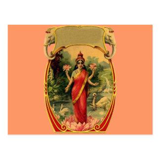 vintage Lotus Flower Hindu Goddess Lakshmi Postcard