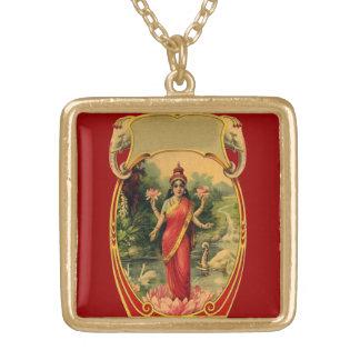 vintage Lotus Flower Hindu Goddess Lakshmi Square Pendant Necklace