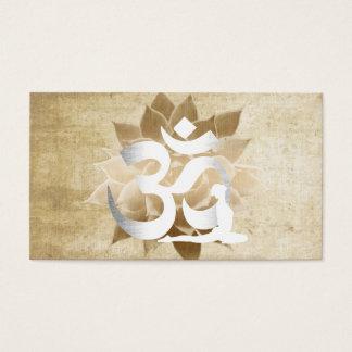 Vintage Lotus Flower Om Sign Yoga & Meditation Business Card