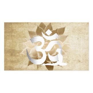 Vintage Lotus Flower Om Sign Yoga & Meditation Double-Sided Standard Business Cards (Pack Of 100)