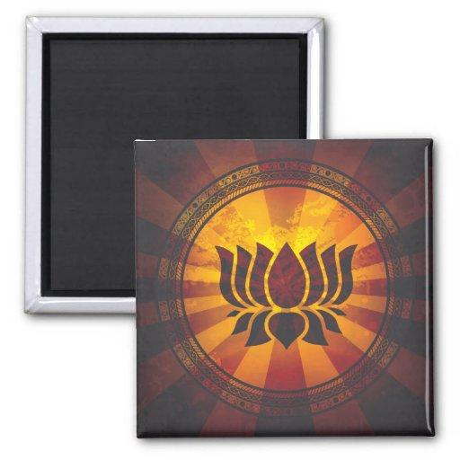 Vintage Lotus Flower Print Fridge Magnet