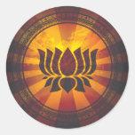 Vintage Lotus Flower Print Round Stickers