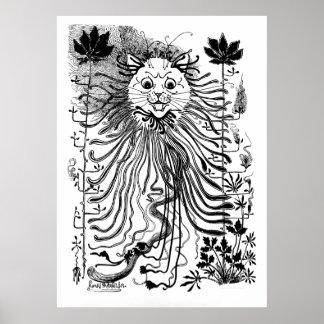 Vintage Louis Wain Art Nouveau Cat Art Poster