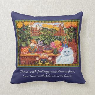Vintage Louis Wain Botanist Cat Art Cushion Pillow