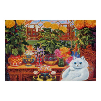 Vintage Louis Wain Botanist Cat Art Poster