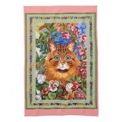 Vintage Louis Wain Cat and Flowers Kitchen Towel