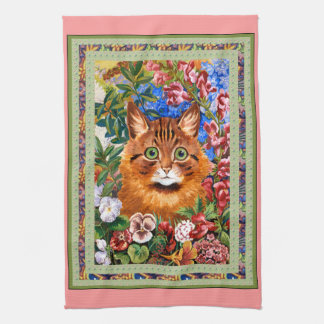 Vintage Louis Wain Cat and Flowers Kitchen Towel