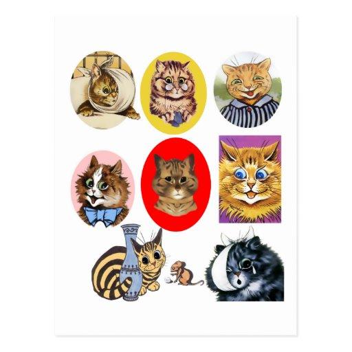 Vintage Louis Wain Cat Art Portraits Postcard