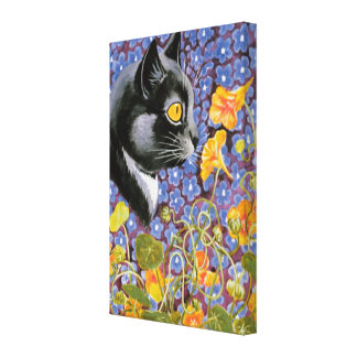Vintage Louis Wain Cat in a Sea of Flowers Canvas Stretched Canvas Print