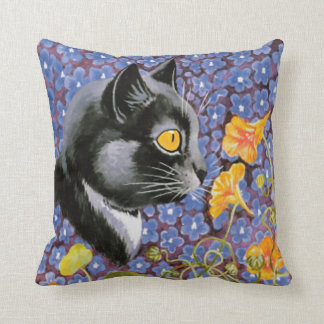 Vintage Louis Wain Cat in a Sea of Flowers Cushion Throw Pillow