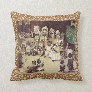 Vintage Louis Wain Cat School Art Cushion Throw Pillows